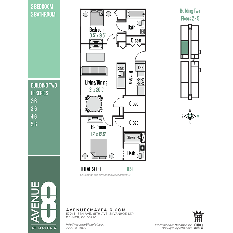 Floor plan image of 2 Bed 2 Bath 16 Series