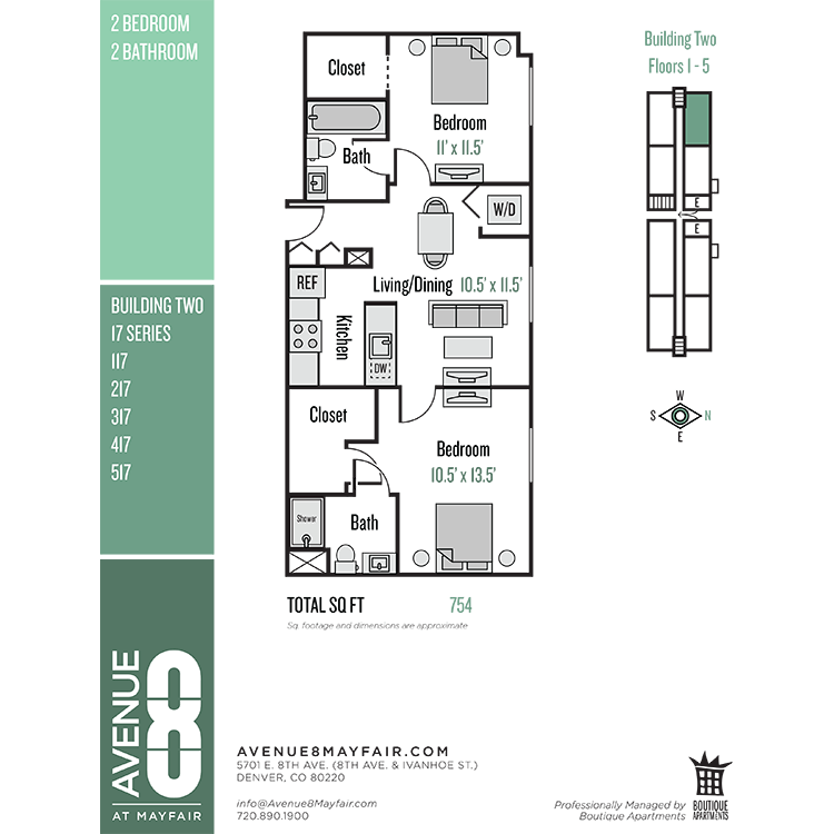 Floor plan image of 2 Bed 2 Bath 17 Series
