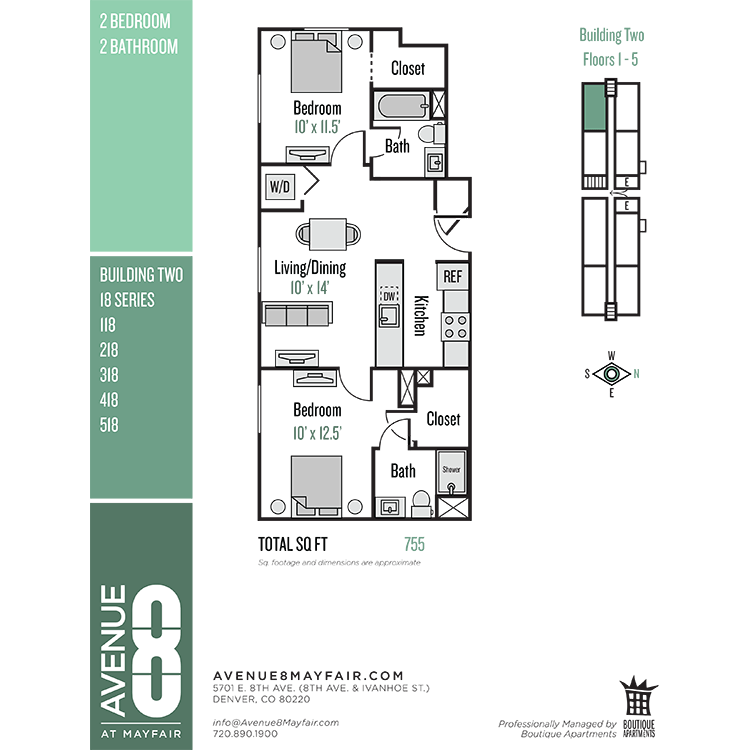 Floor plan image of 2 Bed 2 Bath 18 Series