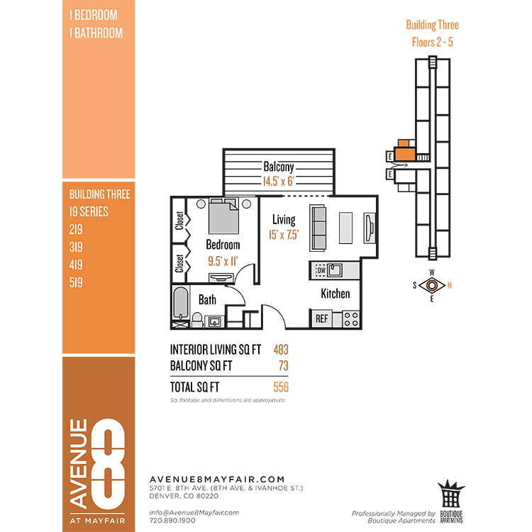 Floor plan image of 1 Bed 1 Bath 19 Series