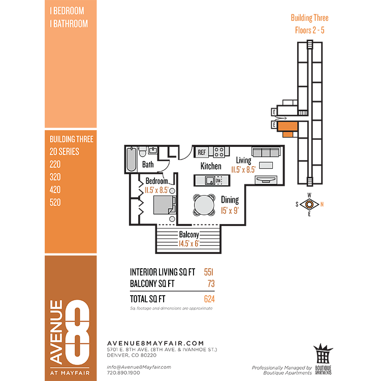 Floor plan image of 1 Bed 1 Bath 20 Series