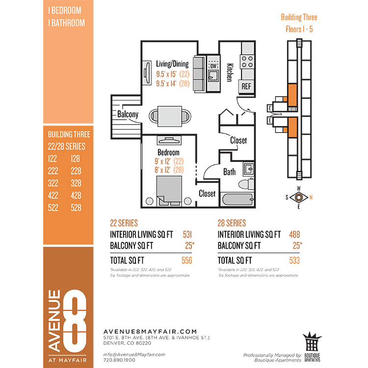 Floor plan image of 1 Bed 1 Bath 22 Series