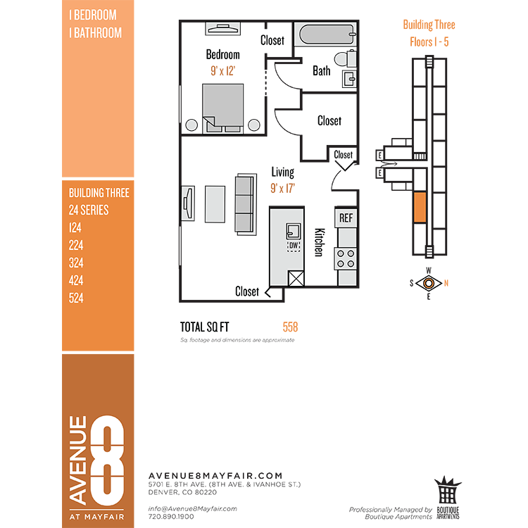 Floor plan image of 1 Bed 1 Bath 24 Series