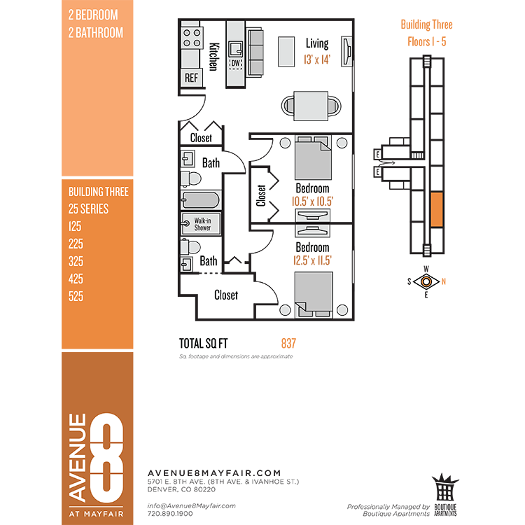 Floor plan image of 2 Bed 2 Bath 25 Series