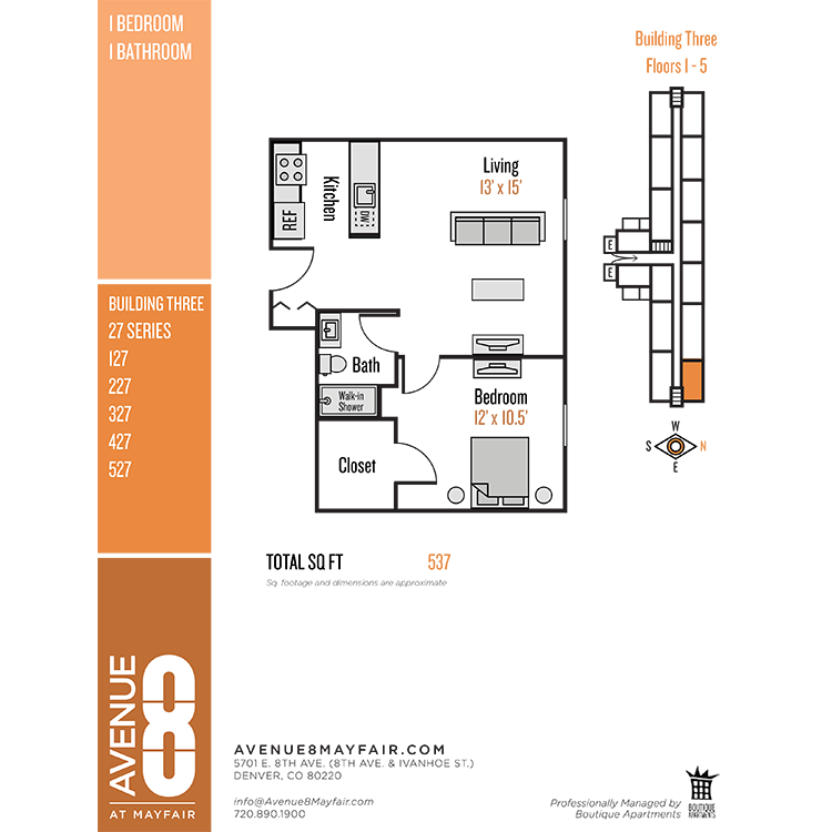 Floor plan image of 1 Bed 1 Bath 27 Series
