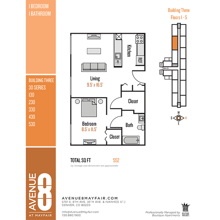 Floor plan image of 1 Bed 1 Bath 30 Series