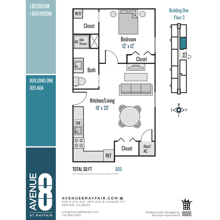 Floor plan image of 1 Bed 1 Bath 305 ADA