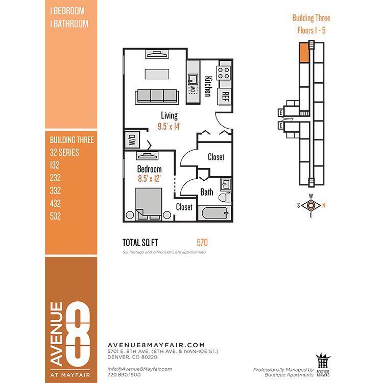Floor plan image of 1 Bed 1 Bath 32 Series