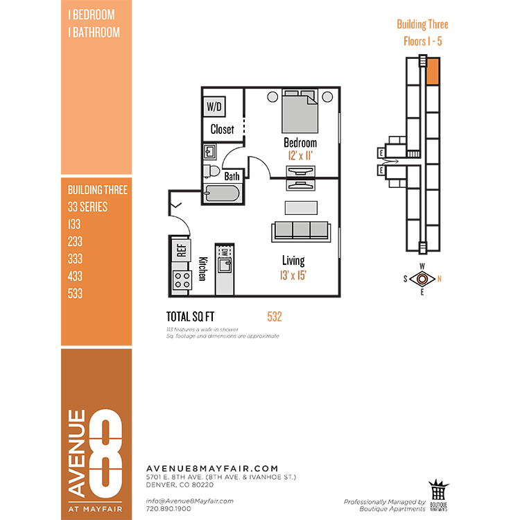 Floor plan image of 1 Bed 1 Bath 33 Series