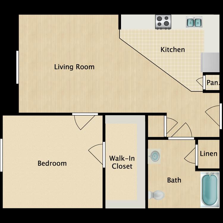 Floor plan image of 1 Bed 1 Bath HC