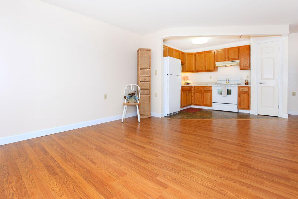 a room with a hard wood floor