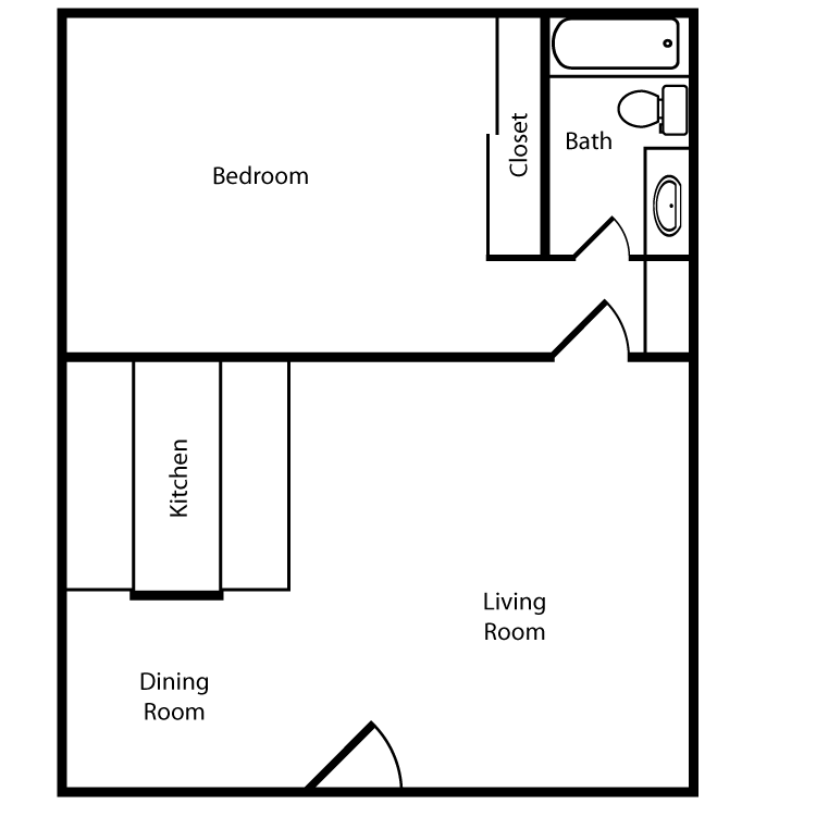 Floor plan image of One Bed One Bath