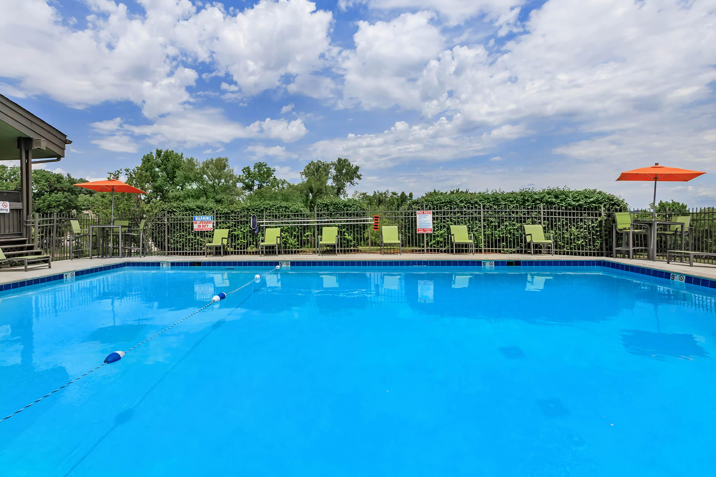 beautiful blue swimming pool at Sunrise Apartments in Nashville, Tennessee
