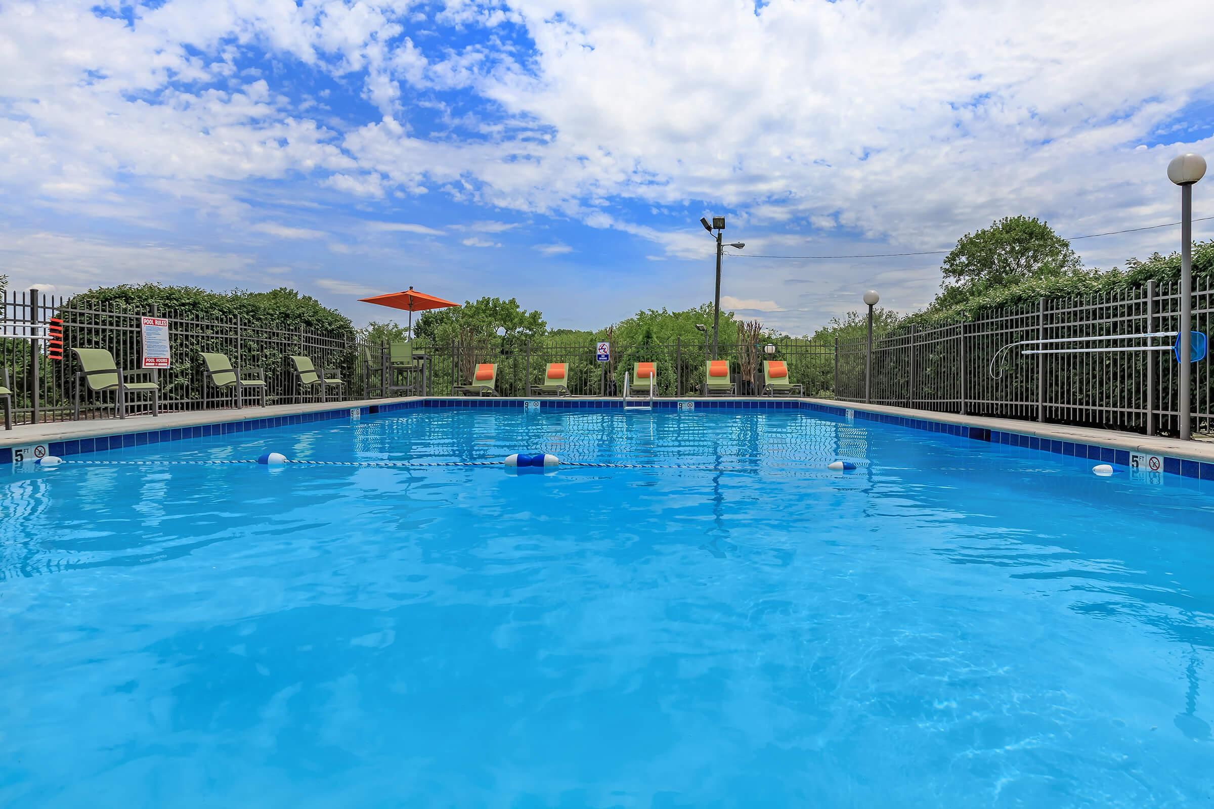 the swimming pool at Sunrise Apartments in Nashville, Tennessee has plenty of space for everyone