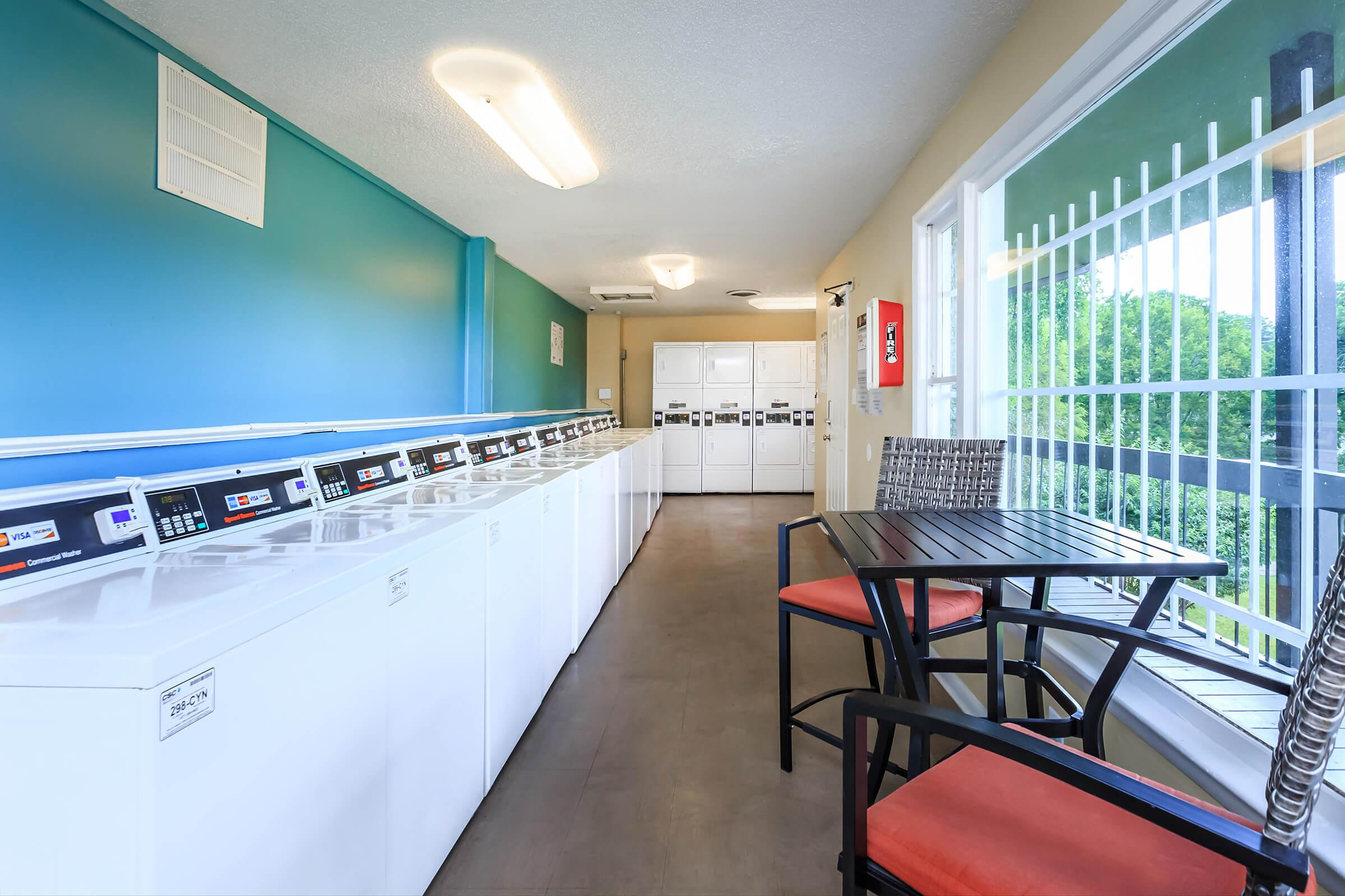 wash your worries away at the laundry facility at Sunrise Apartments in Nashville, Tennessee