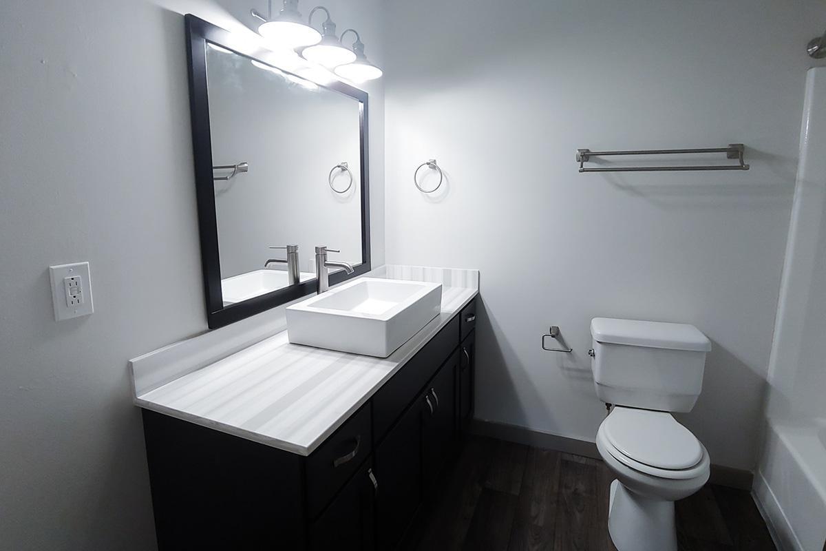 sleek bathroom at Sunrise Apartments in Nashville, Tennessee