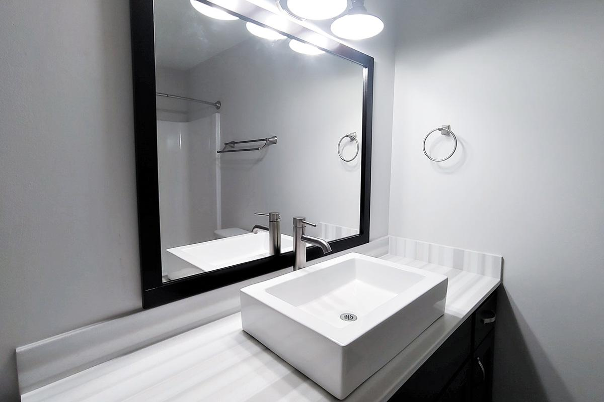 stunning vanity in the bathroom at Sunrise Apartments in Nashville, Tennessee