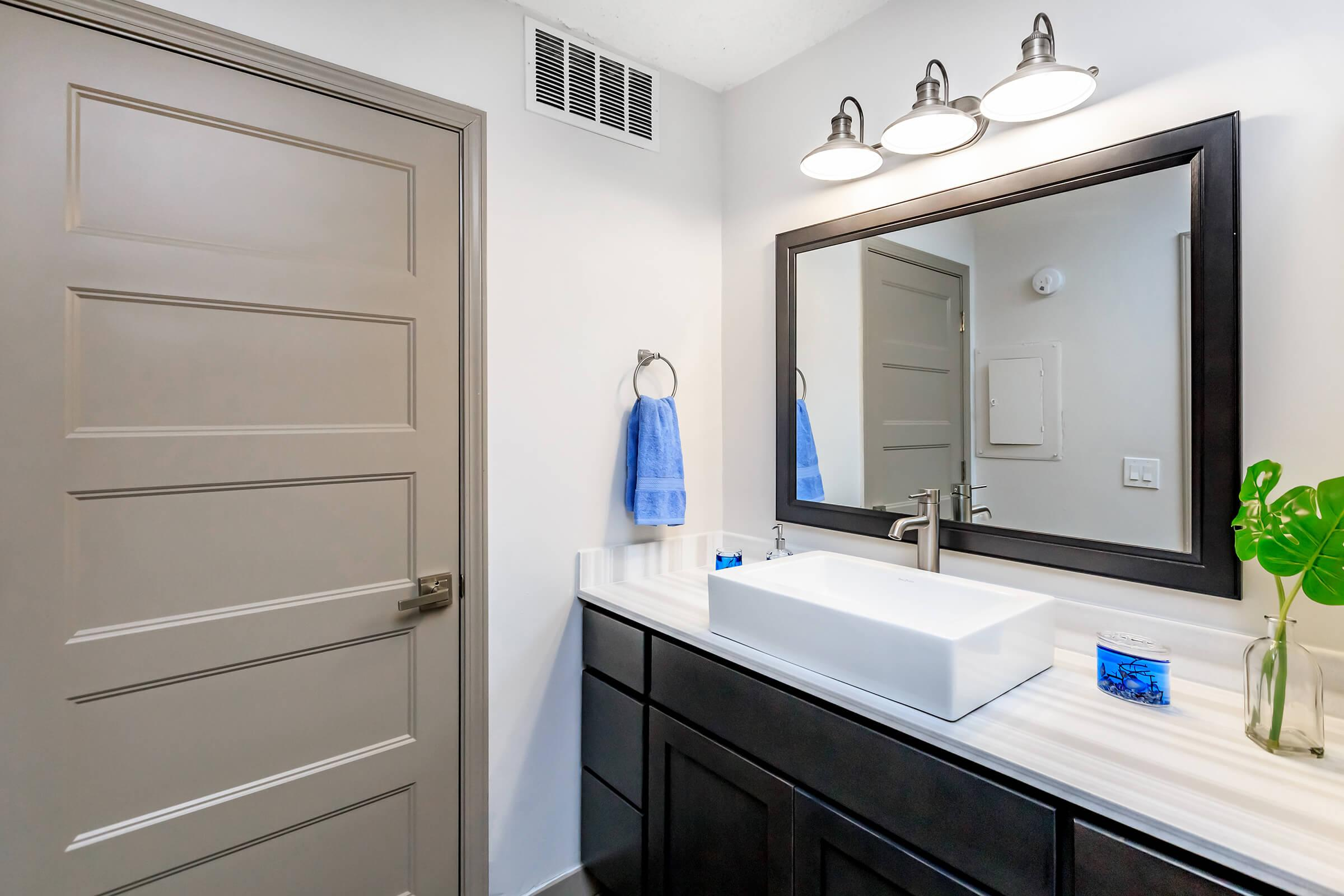 beautiful vanity in the bathroom at Sunrise Apartments in Nashville, Tennessee