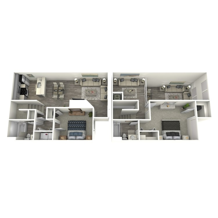 Floor plan image of 2 Bed 2 Bath Townhome w/Loft