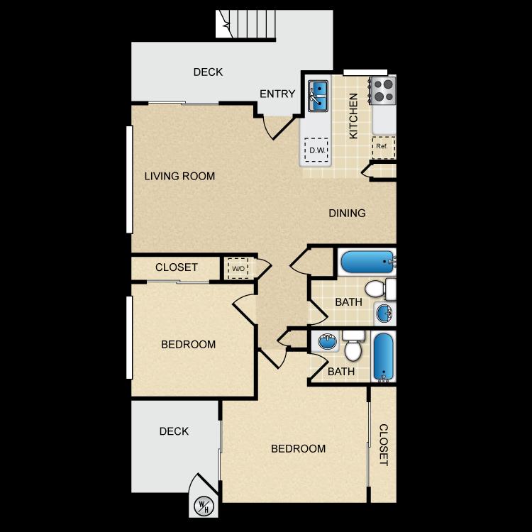 Floor plan image of Las Palmas 2 Bedroom 2 Bath
