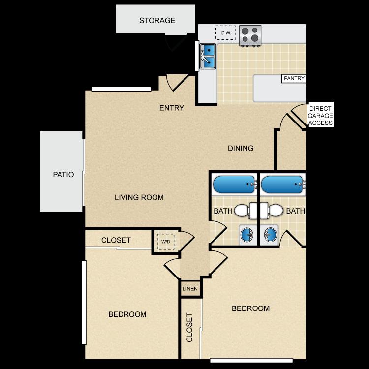 Floor plan image of Majorca 2 Bedroom 2 Bath