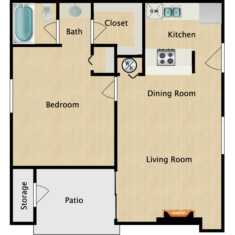Floor plan image of A1 1 Bed 1 Bath