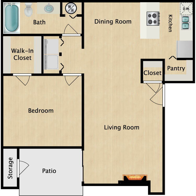 Floor plan image of A2R 1 Bed 1 Bath