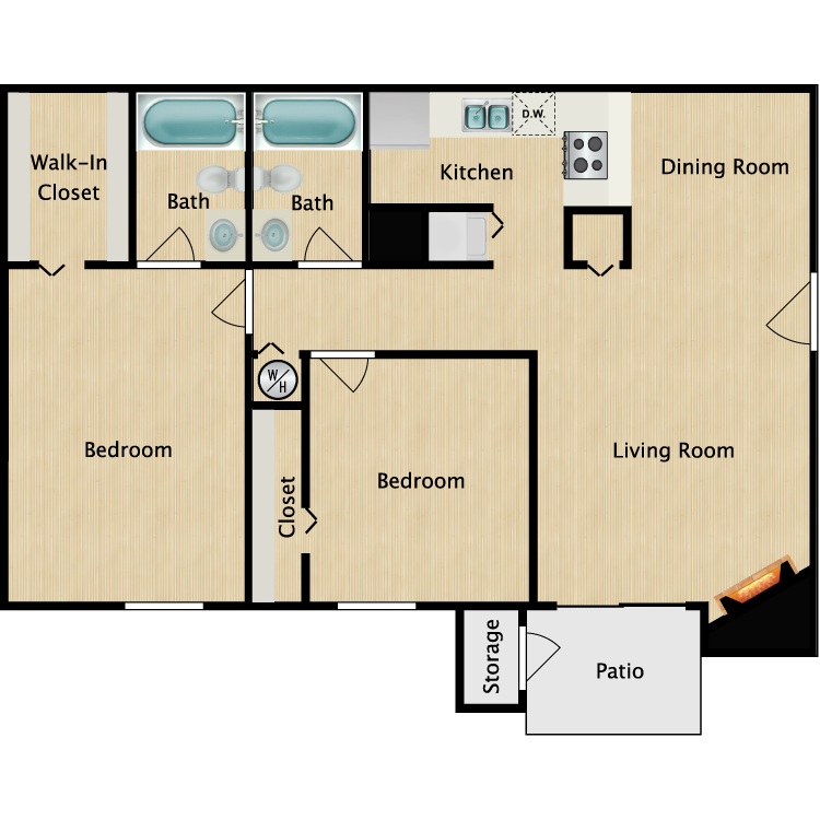 Floor plan image of B1R 2 Bed 2 Bath