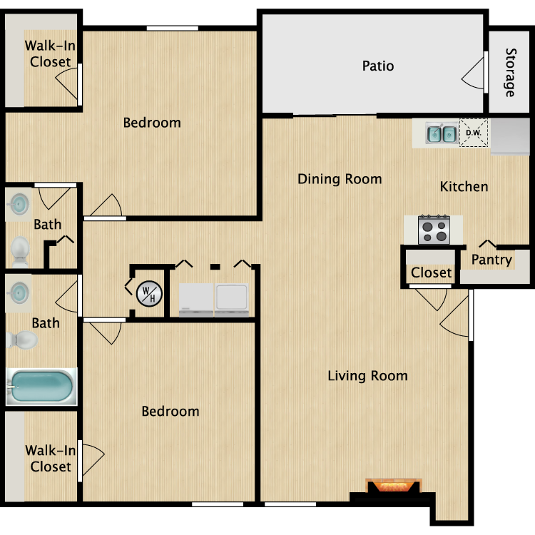 Floor plan image of B2R 2 Bed 2 Bath