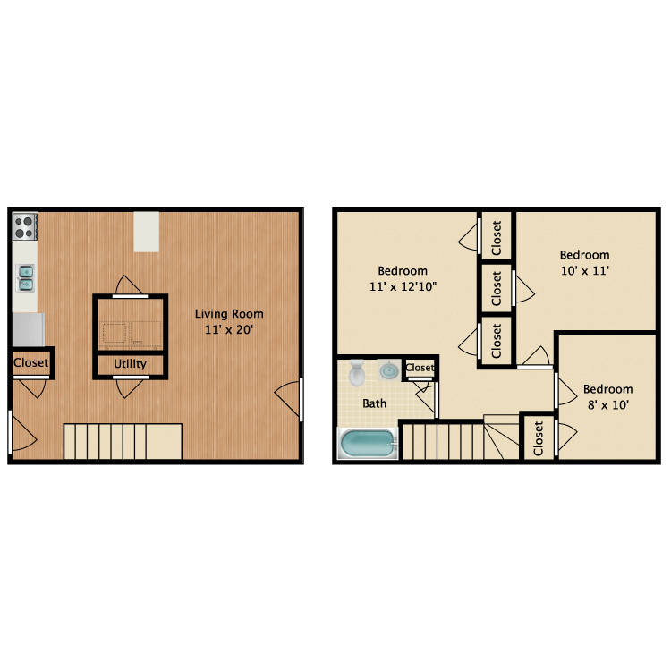 Floor plan image of 3 Bed 1 Bath Townhouse
