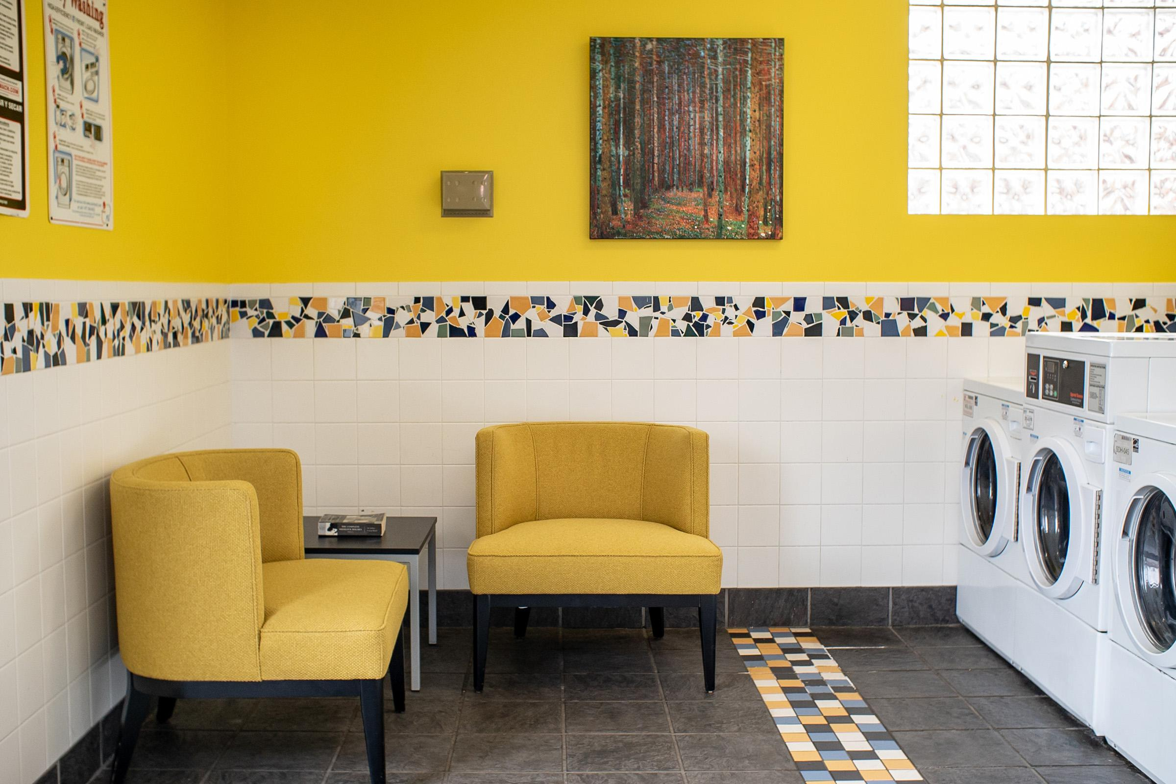 a room with yellow walls