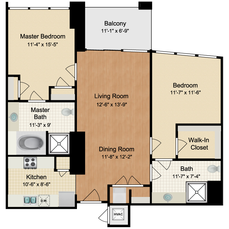 Floor plan image of 2 Bed 2 Bath A1