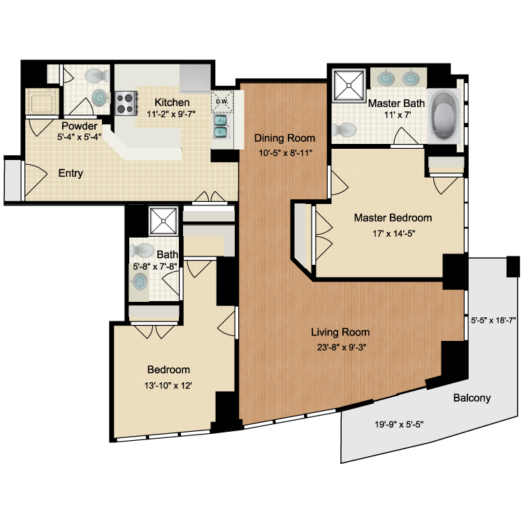 Floor plan image of 2 Bed 2.5 Bath CLG