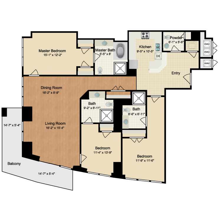 Floor plan image of 3 Bed 3.5 Bath C1