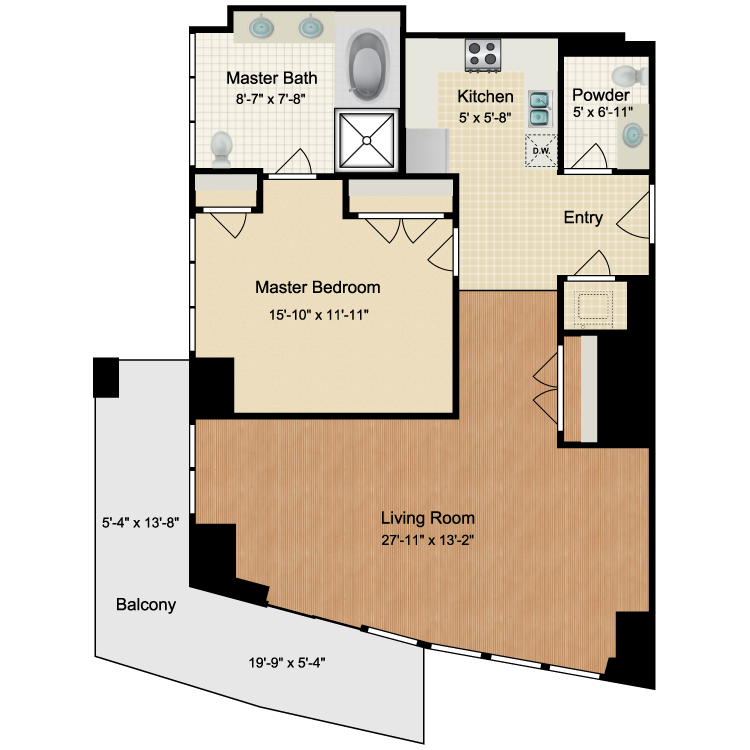 Floor plan image of 1 Bed 1.5 Bath C