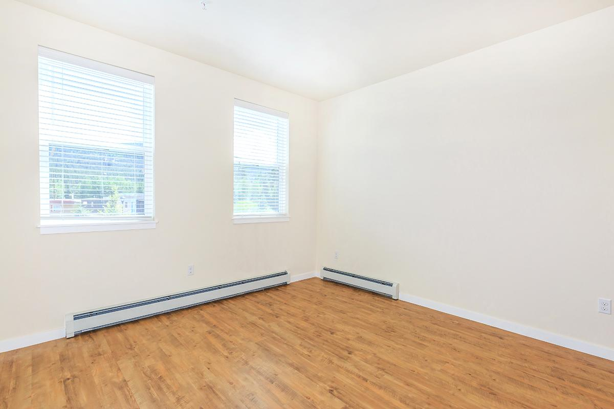 a room with wood floors