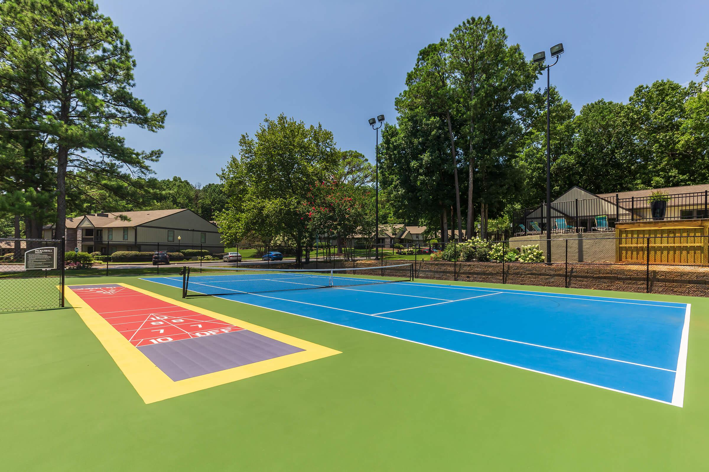 a group of blue and green court