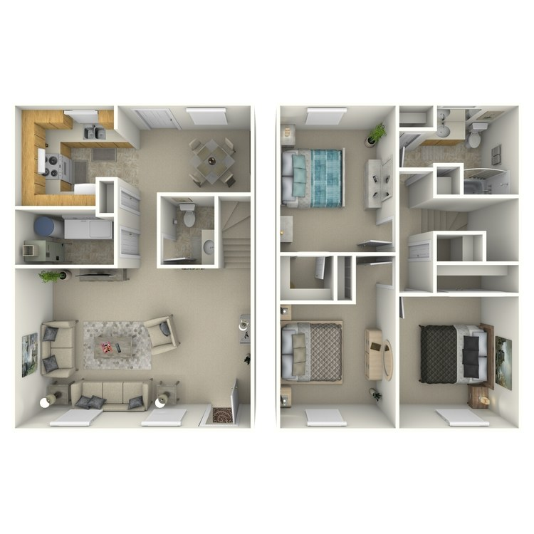 Floor plan image of 3 Bed 1.5 Bath No Garage