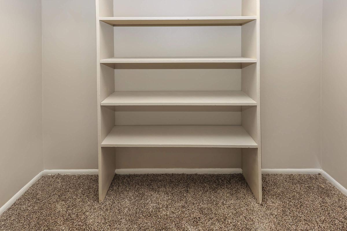 an empty shelf in a room