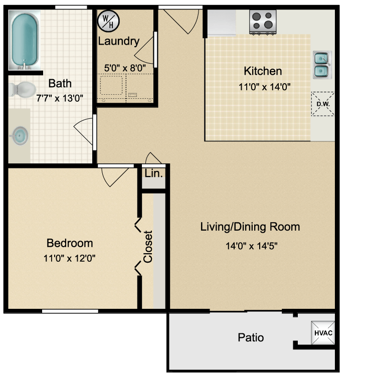 Floor plan image of Contemporary 1 Bed