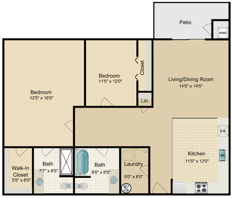 Floor plan image of Contemporary 2 Bed