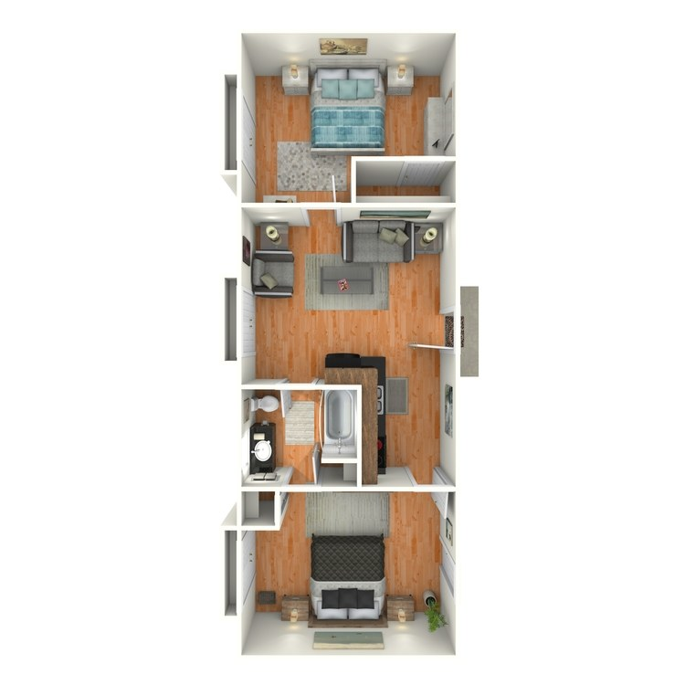 Floor plan image of 2 Bed 1 Bath E