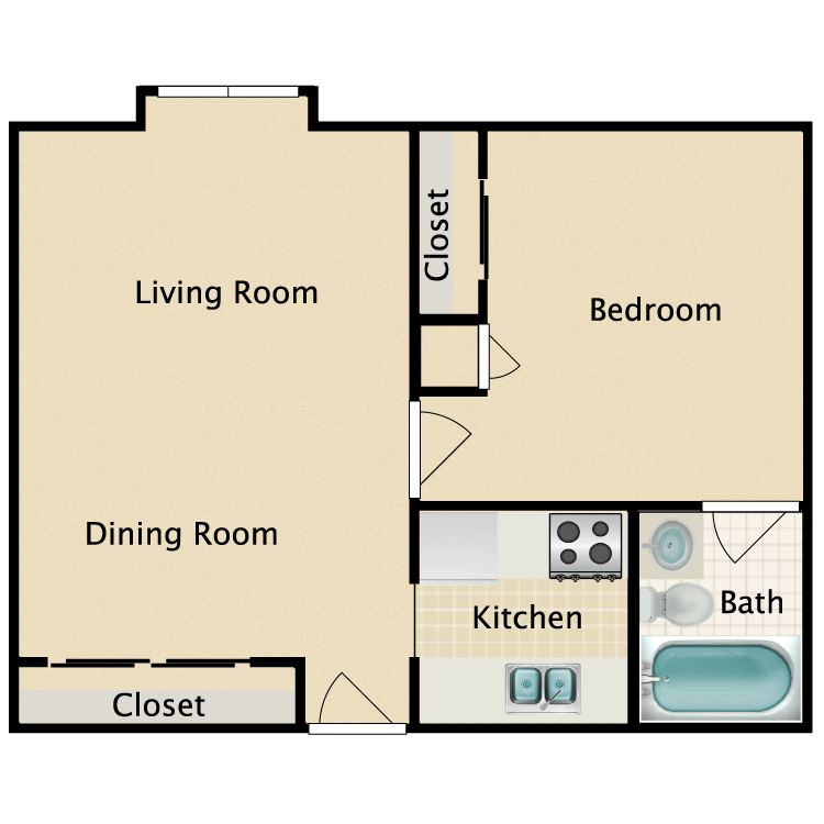 1 Bed 1 Bath Disabled floor plan image