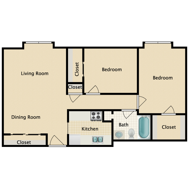 2 Bed 1 Bath Elderly floor plan image