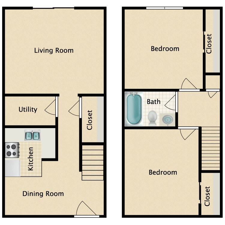 2 Bed 1 Bath Townhome floor plan image