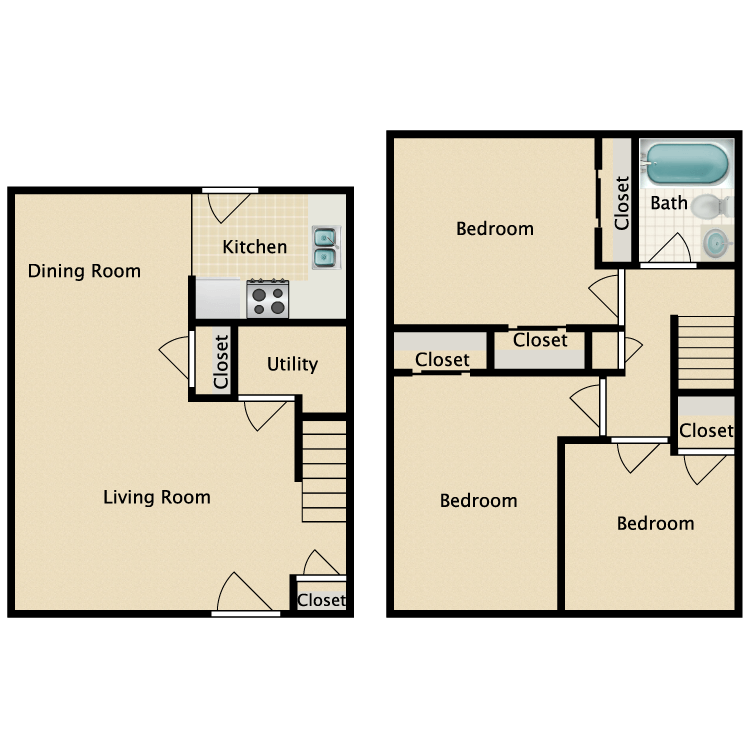 3 Bed 1 Bath Townhome floor plan image