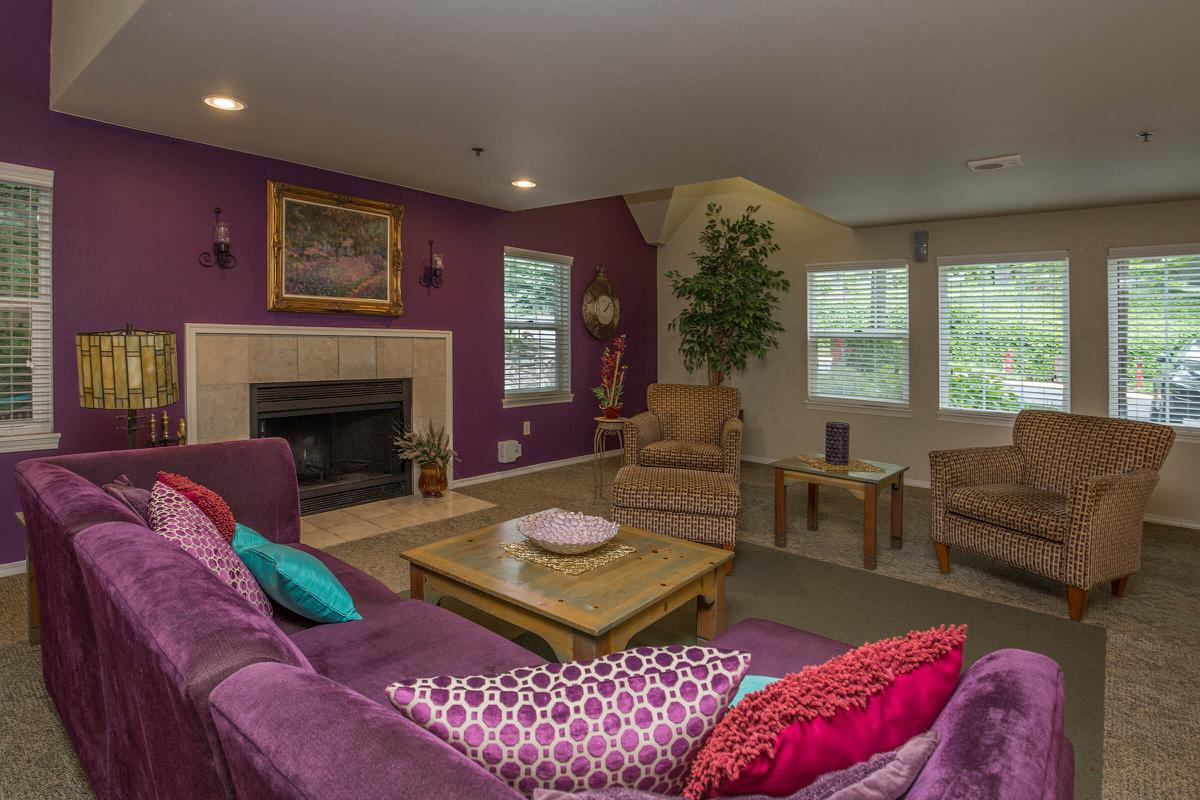 a living room filled with purple and green blanket