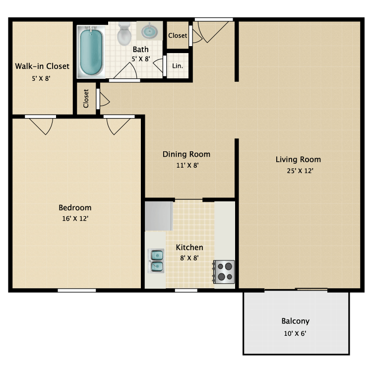 Floor plan image of Warren One Bedroom