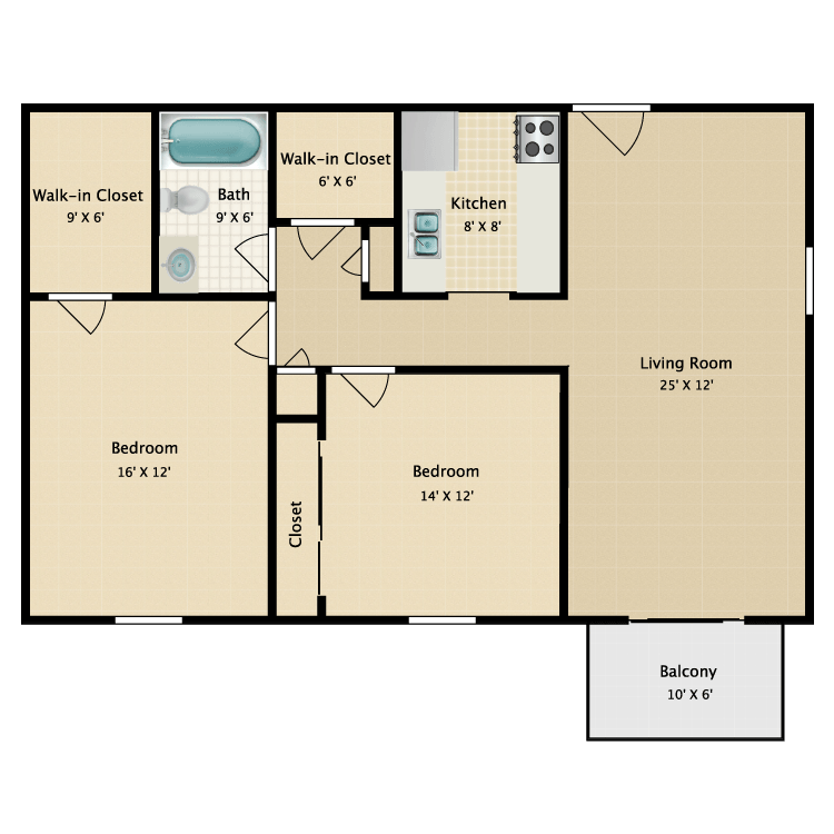 Floor plan image of Warren Two Bedroom