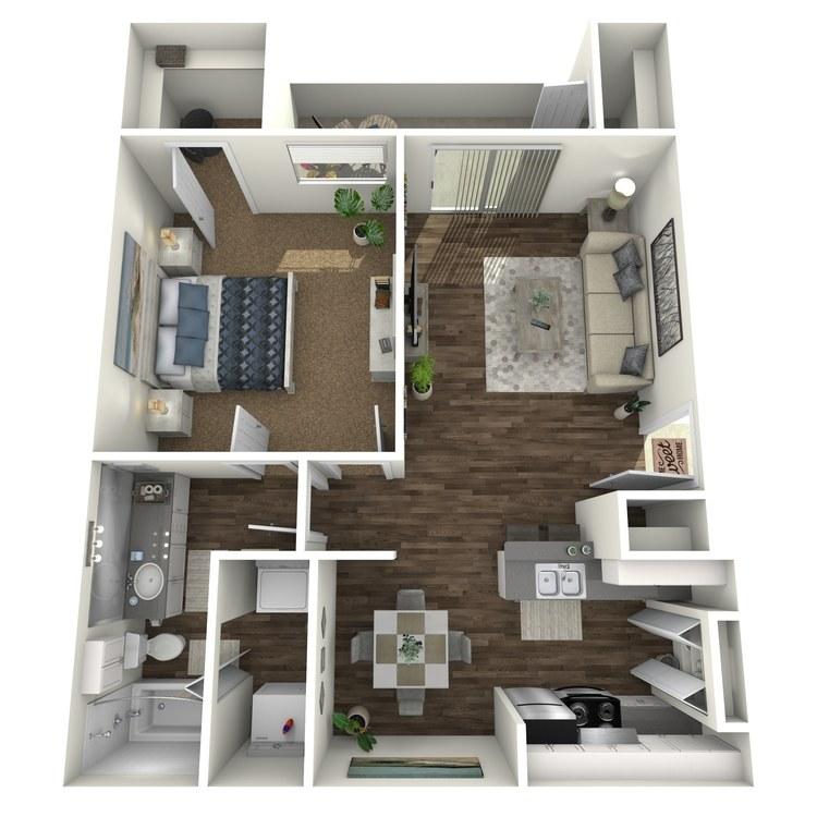 Floor plan image of 1x1 B